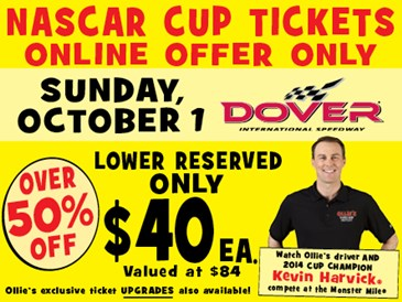 EXCLUSIVE Offer: Dover NASCAR Cup Tix 10/1/17
